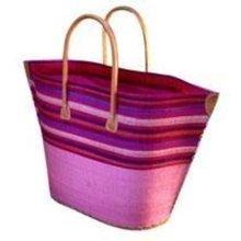 Madagascar Raffia Small Bato Pink Stripe Basket