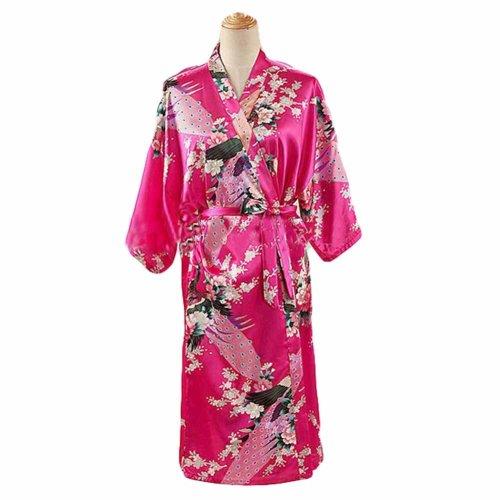 Fuchsia - Peacock Blossoms Women s Long Bathrobe Kimono Robe Silk-like  Pajamas on OnBuy 9054f2e22