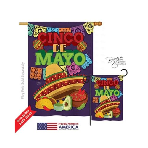 Breeze Decor 15113 Southwest Cinco de Mayo 2-Sided Vertical Impression House Flag - 28 x 40 in.
