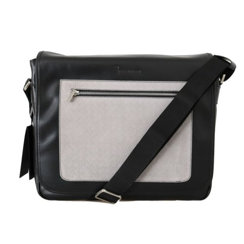 Billionaire Italian Couture Black Gray Leather Messenger Shoulder Bag on  OnBuy fa56a4f4e9d6e