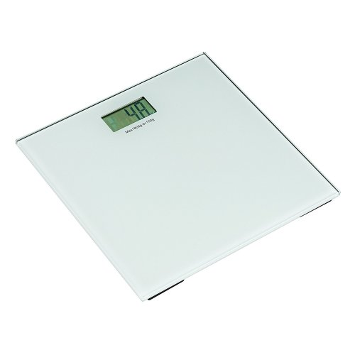 Square Tempered Glass Bathroom Scale - White