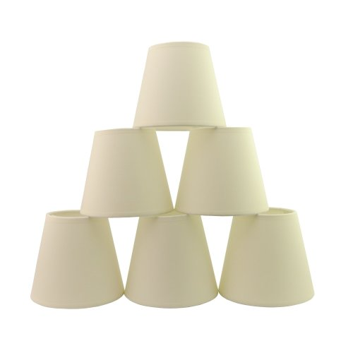 Doooitlight Set of 6 Clip LampShades for Candle Crystal Chandelier(Cream TC)