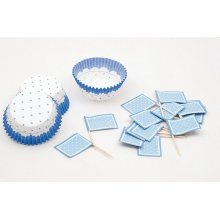 Cake Cups Blue & White & Picks Large24's