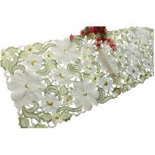 """68"""" by 15""""Spring Daisy Embroidered Cutwork Table Runner Bountiful Table Cloth"""