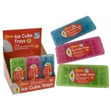 12 Cavity Plastic Colourful Ice Cube Tray 4 Pack Blue Green Pink -