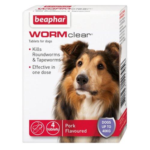 Beaphar Wormclear Dog Uptp 40kg 4 Tablets (Pack of 6)