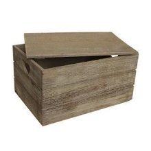 Large Oak Effect Heart Cut Handle Wooden Lidded Storage Box