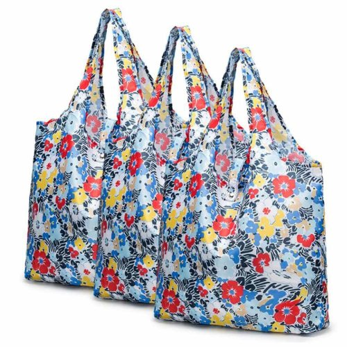 Flower - 3 Pieces Reusable Grocery Bags Foldable Boutique Shopping Bags Portable Merchandise Tote Bags Gift Bags