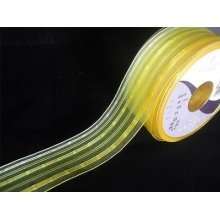 2m of Berisfords Yellow Stripe Ribbon - 40mm wide