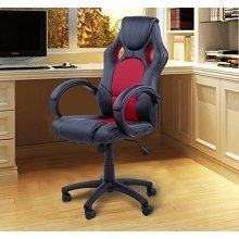 Homcom Racing Sports Swivel Desk Chair Leather Office Chair (Black-Red)