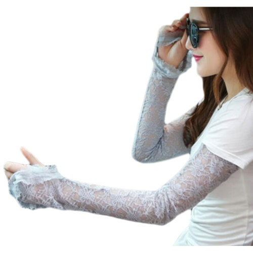 Lace Outdoor Sunscreen Clothing Women Gloves Breathable Sun Protective Sleeves-Gray