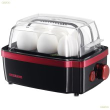 Severin Automatic Electronic 6 Egg Boiler Cooker + Hardness Controls - 3156 Red