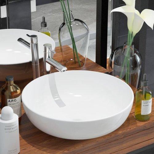 142337 vidaXL Basin Round Ceramic White 41,5x13,5 cm