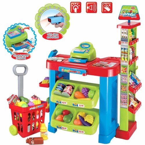 deAO Toys Kids' Market Stall Role Play Set | Children's Toy Grocery Store