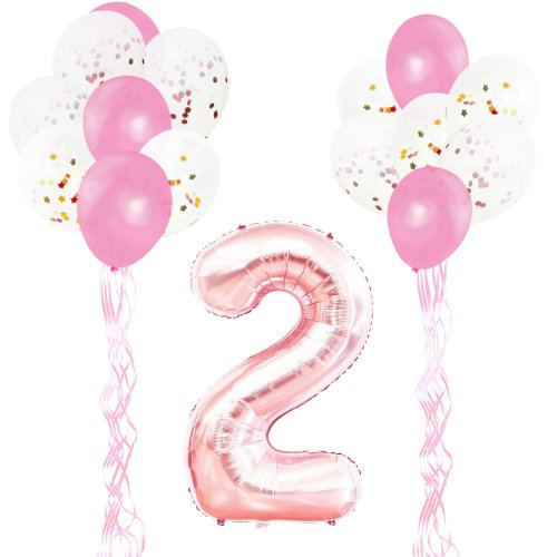 KUNGYO 2nd Birthday Party Decorations Kit Giant Rose Gold Number 2 Foil BalloonPink Ribbons Latex Confetti Balloons 18 Pieces Supplies Set On