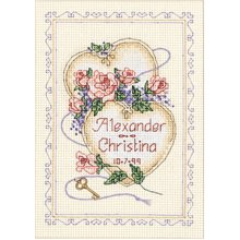 """Dimensions Mini Counted Cross Stitch Kit 5""""X7""""-United Hearts Record (14 Count)"""