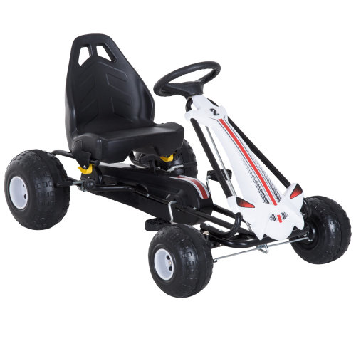 Homcom Pedal Go-Kart with Adjustable Seat White | Kid's Go Kart