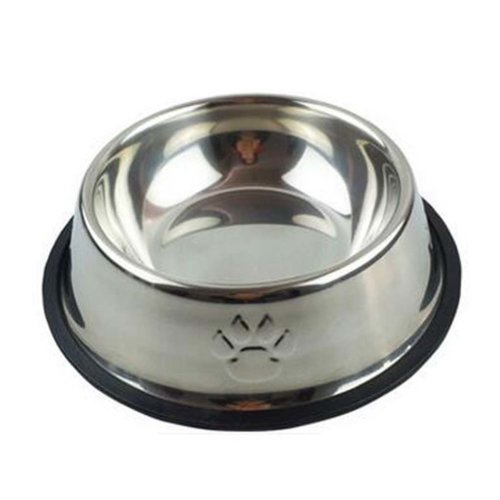 Little Stainless Steel Bowl Set Feeding Pot/Pet Bowl/Dog Bowl/Cat Bowl For Food & Water M Size (White)