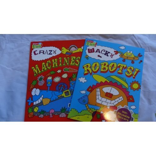 CRAZY MACHINES & WACKY ROBOTS COLOURING AND STICKER BOOKS - 2 BOOKS