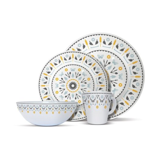 OLPRO Whitbourne 4 Person Melamine Tableware Set | 16pc Dinnerware Set