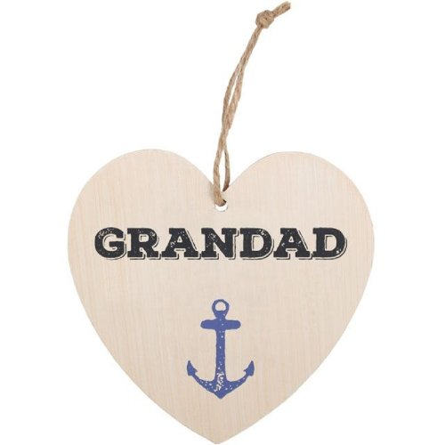 Grandad Heart Plaque Wall Hanging Sign Wood Fathers Day Birthday Christmas Gift