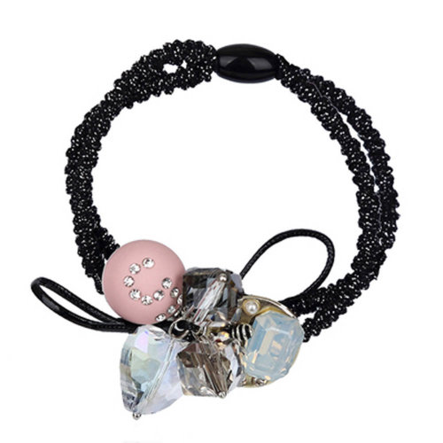 Beaded Head Rope Bow Hair Band Rubber Band with Simple Personality, Pink