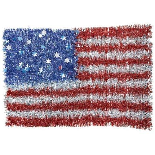 Amscan 241036 13.5 x 20.5 in. American Flag Patriotic Tinsel Sign - Pack of 2