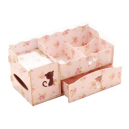 Practical DIY wooden storage box Pen / Pencil / Cosmetic storage drawers (ROSE)
