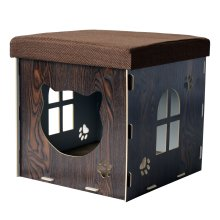 PawHut Cat Cave Pet House Shelter Footstool Upholstered Lid with Scratching Pad 41 x 41 x 41cm Brown