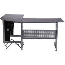 Homcom Glass Corner Computer Desk Office-black