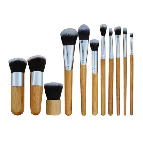 11 Pcs Bamboo  Makeup Brushes Set Multifunction
