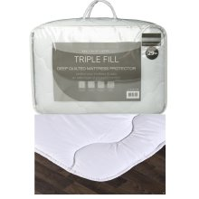 Triple Fill Deep Quilted Mattress Protector Topper Fitted Cover
