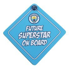 Manchester City Baby On Board Sign - Official Football Club Sporting Goods Acc -  official manchester city football baby board sign club sporting