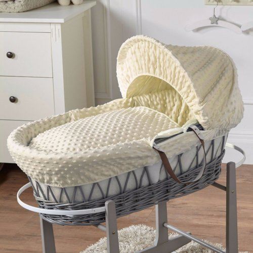 Cream Dimple Grey Wicker Moses Basket