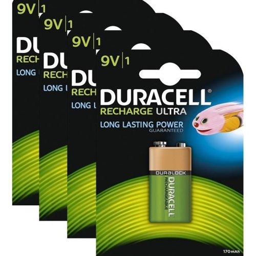 4 x Duracell 9V PP3 Block 170 mAh Rechargeable Batteries HR22 6LR61 HR9V DC1604