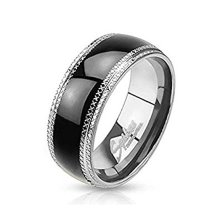 Black Plated Center Etched Edges Stainless Steel Band Ring