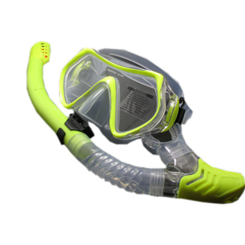 Scuba Diving Mask & Dry Snorkel Set Snorkeling Equipment for Adult, Lime