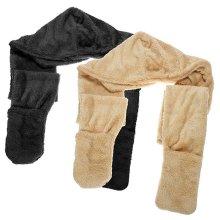 Women Winter Long Thick Faux Lamb Velvet Hooded Wrap Neck Warmer Hat Glove Scarf