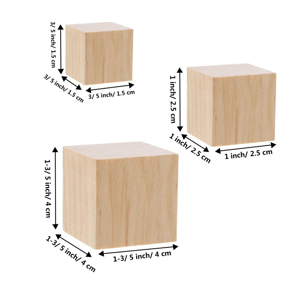 Hicarer 100 Pieces Unfinished Wooden Cubes Solid Natural Wooden Square Blocks For Baby Puzzle Making Craft And Diy Project 3 Sizes Mixed