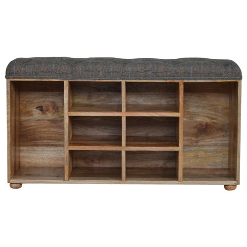 Multi Shelved Shoe Cabinet With Tweed Seat Hallway Storage Bench