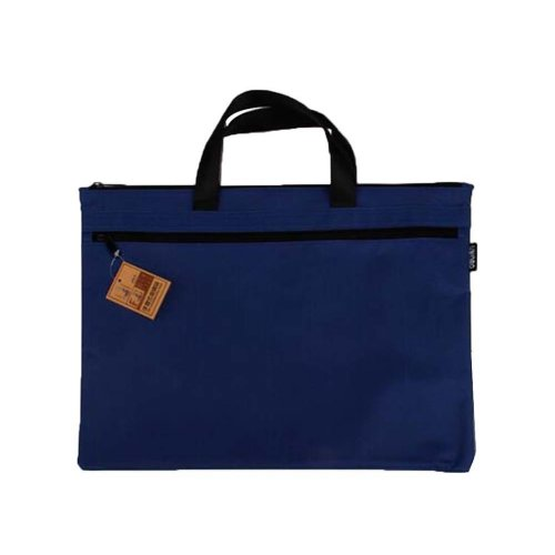 Portable Document Bag Zipper Bag Multi-layered Data Bag Briefcase, Blue-3