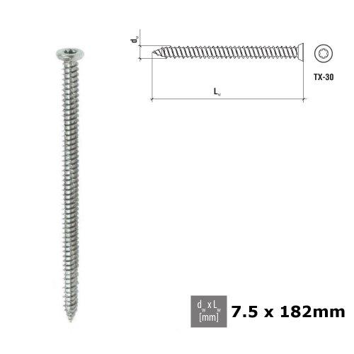 CONCRETE FRAME WINDOW FIXING SCREWS 7.5 x 182mm Galvanized PCS 010