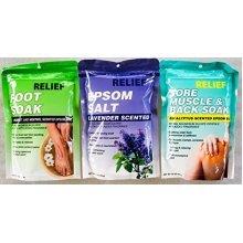 Epsom Salt Soak Muscle Relief Bundle, Eucalyptus, Lavender, Spearmint amp Menthol (3 x 16 oz Packs)