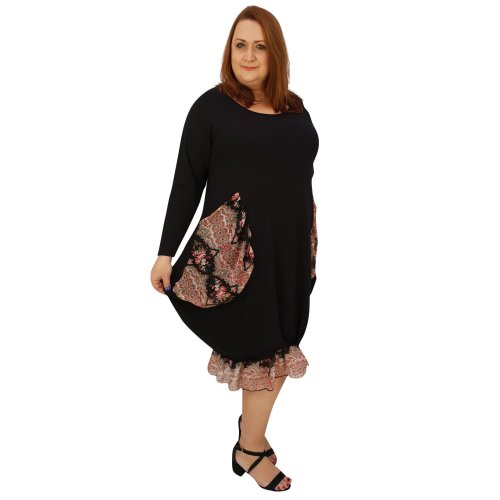 c2ee20595d5 Plus size asymmetric dress lagenlook loose chiffon pockets and frill long  sleeve  L1045 BLACK3  on OnBuy