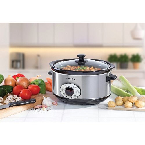 Daewoo 4.5L Digital Slow Cooker Stainless Steel Non Stick Casserole Oven Steam