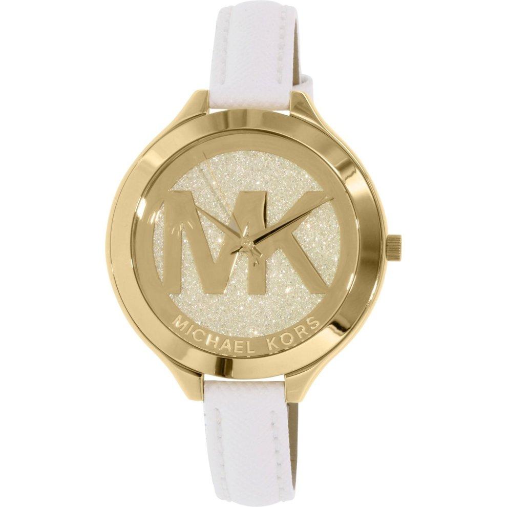 Michael Kors Thin Runway Ladies Watch Gold Dial MK Logo White Strap MK2389