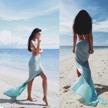 Sexy Women Mermaid Tail Costume Fancy Dress Beach Photography Skirt