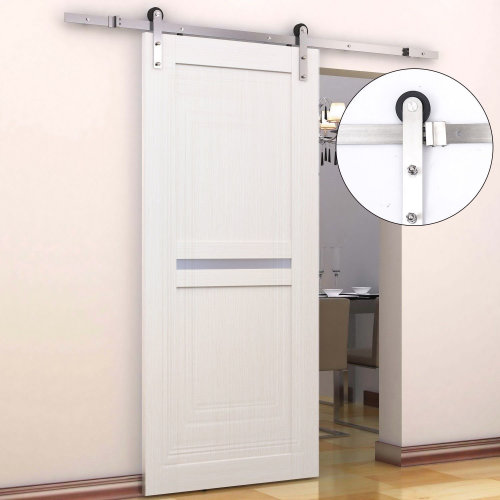 HOMCOM 6.5FT / 2m Stainless Steel Sliding Door Kits Barn Hardware Closet Set Modern Style Track System For Single Wooden Door