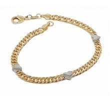 New 9 CT Gold Filled Heart Two Tone Double Curb Bracelet For Lady B31