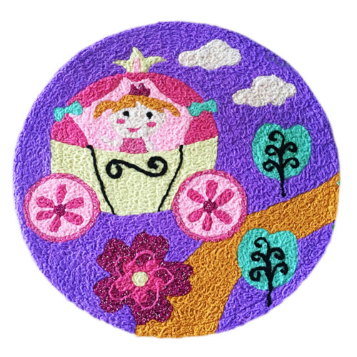 [Princess] Children Bedroom Decor Rug Embroidered Mat Cartoon Carpet,23.62x23.62 inches
